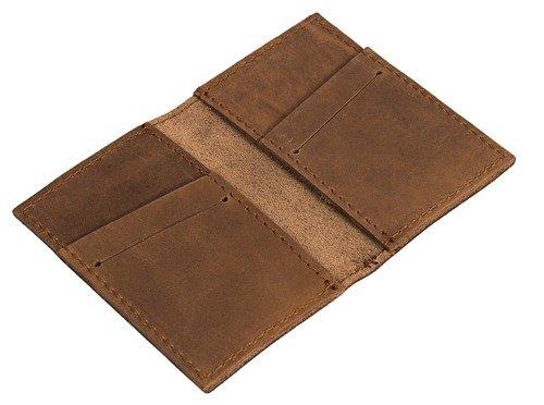 Skórzany zestaw portfel i bilonówka BRODRENE SW03 + CW02 jasnobrązowy
