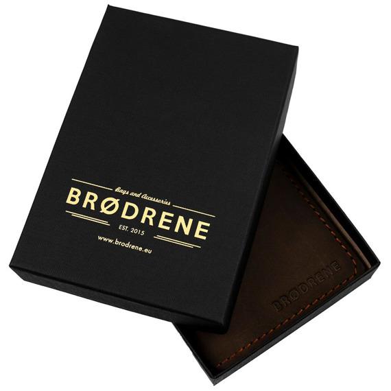 Skórzany zestaw portfel i bilonówka BRODRENE SW05 + CW01 jasnobrązowy