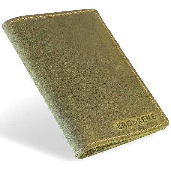 Skórzany zestaw portfel i bilonówka BRODRENE SW05 + CW01 zielony