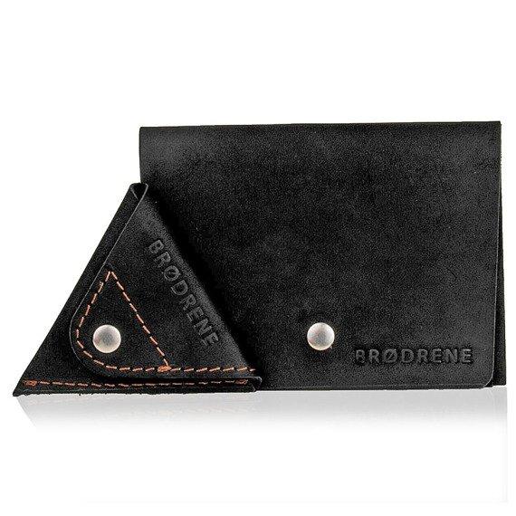 Skórzany zestaw portfel i bilonówka BRODRENE SW06 + CW01 czarny