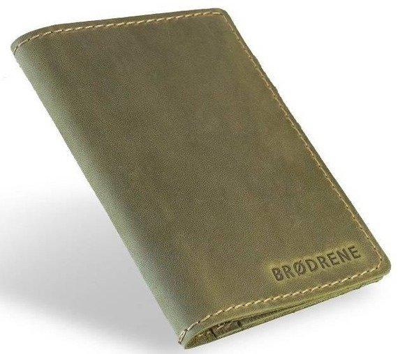 Skórzany zestaw portfel i bilonówka BRODRENE SW07 + CW01 zielony