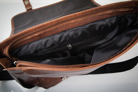 Stylowa brązowa casual torba męska na ramię SOLIER S12