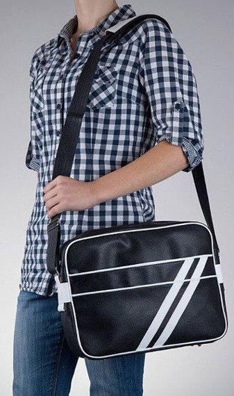 Stylowa torba męska na ramię SOLIER Messenger by Solier MS02 czarno - biała