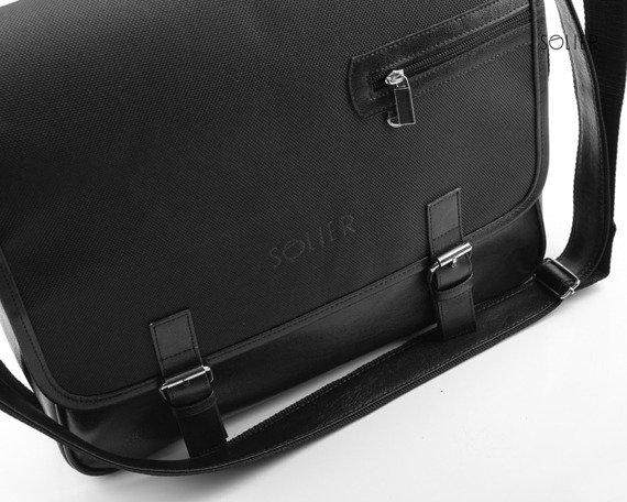 Stylowa torba męska na ramię SOLIER S12 carbon czarna