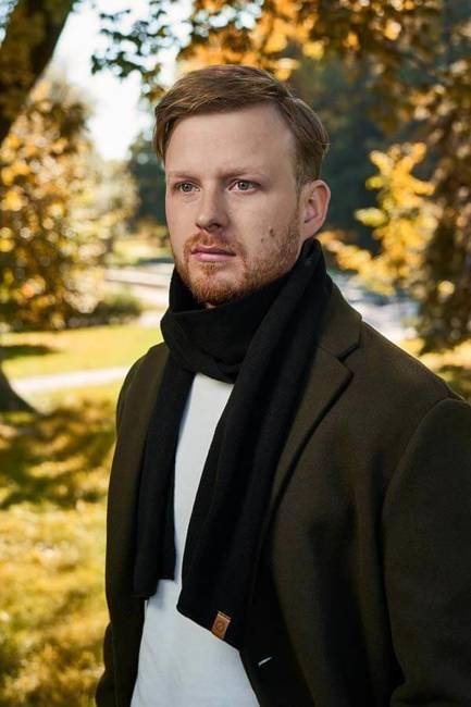 Szalik męski elegancki na zimę Brodrene S1 czarny