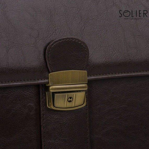 Teczka aktówka męska biznesowa SOLIER S21 ciemnobrązowa