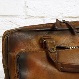 Torba skórzana do ręki, na ramię laptopa unisex DAAG ALIVE 23 koniakowa