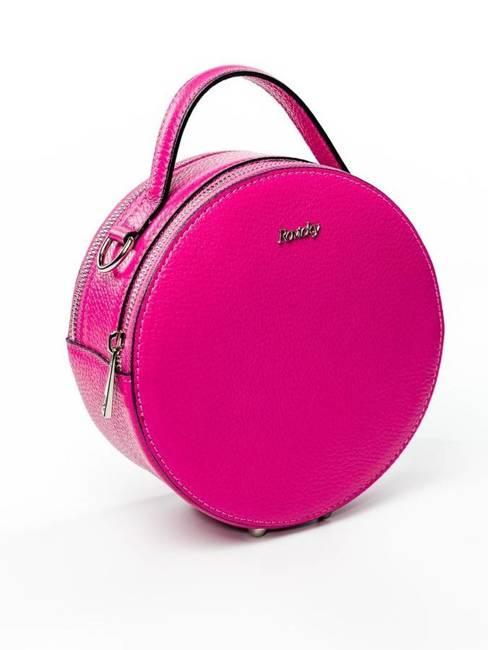 Torebka damska kuferek włoski skórzany Rovicky różowy