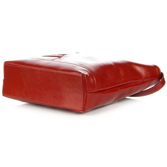 Torebka damska listonoszka ze skóry naturalnej DAN-A T287 czerwona