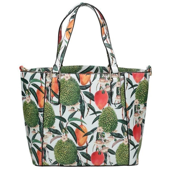 Torebka damska shopperka w kwiaty NOBO 3840 biała