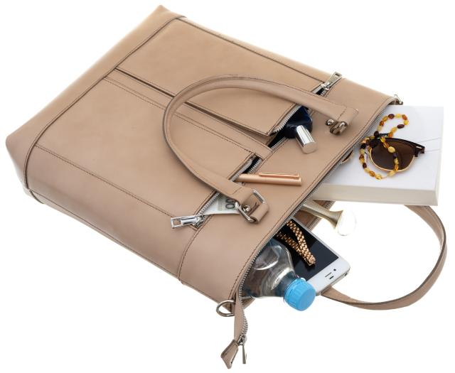 Torebka skórzana shopper bag A4 Rovicky TWR-8 beżowa