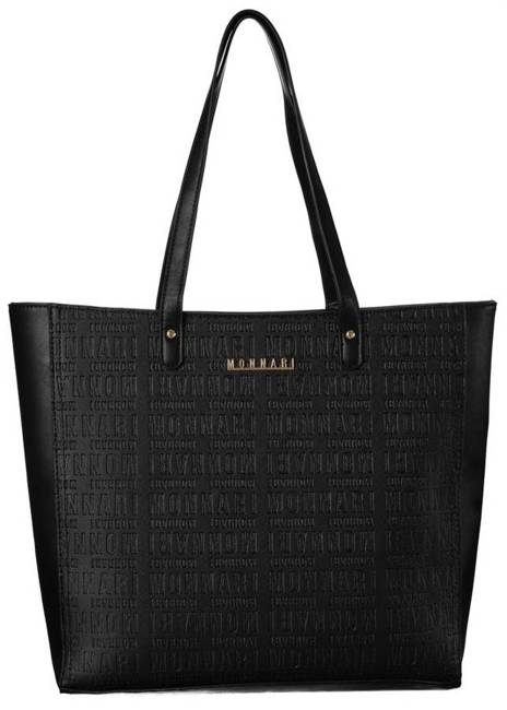 Trapezowy shopper czarny tłoczone napisy Monnari BAG2360-020