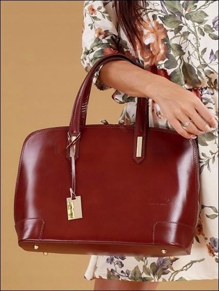 Włoska torebka skórzana kuferek brązowy Rovicky TWR-32