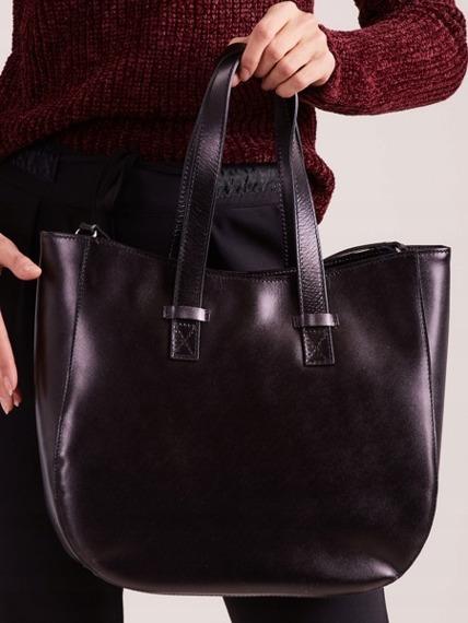 Włoska torebka skórzana shopper bag czarna Rovicky TWR-64