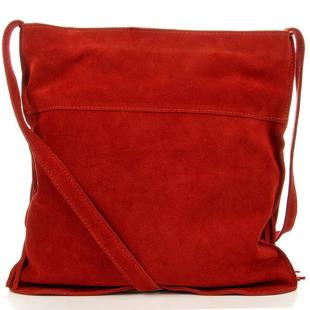 Włoska torebka skórzana z frędzlami MADE IN ITALY Postino 177 czerwona
