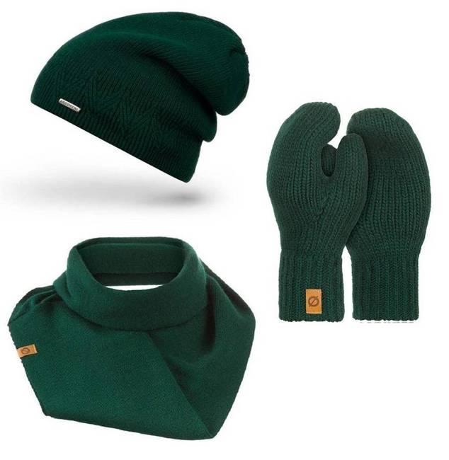 Zestaw zielony czapka komin rękawiczki Brødrene ZES3GREEN